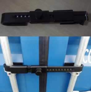 Image is of a barrier lock for shipping containers